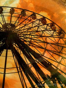 ferris wheel, yellow, orange, art, art photography, collage, canvas, picture