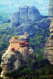 the Meteora Monasteries, Meteora, Greece, mountain, paint, photography, art photography, roof, roofs, trees, forest, landscape, rocks, stones, color, green, house